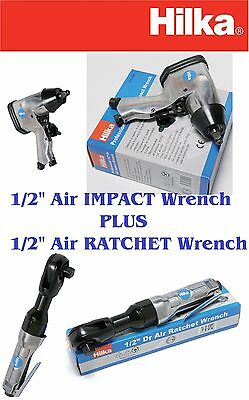 """HEAVY DUTY 1/2"""" Air Impact Wrench PLUS Air Ratchet Wrench COMPRESSOR TOOL SET"""