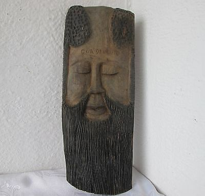 """17"""" antique Guadeloupe Wooden mask male face carved panel plaque wood carving"""
