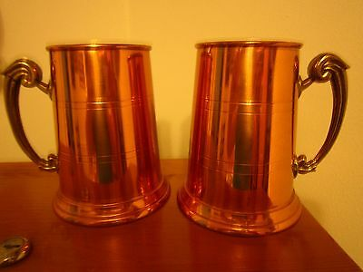 """Copper Beer Steins (2) Vintage-England-Brass handles-5"""" hg. x 4.25"""" at base-Used"""