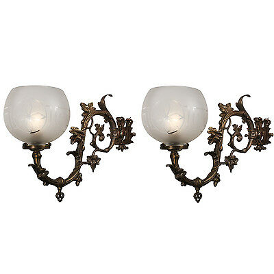 Antique Rococo Gas Sconce Pair with Maple Leaves, c.1860, NSP1140