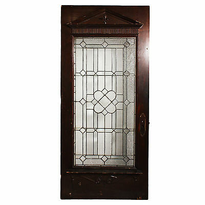 Stunning Salvaged Oak Door with Beveled & Leaded Glass, Early 1900's NED214