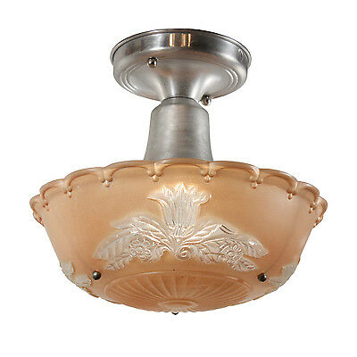 Charming Antique Art Deco Flush Mount with Original Glass Shade, NC2376