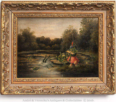 FROGS on LILY POND Wind in the Willows Toad Chorus Vintage Oil Painting Original