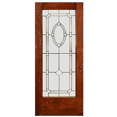 "Elegant 34"" Reclaimed Door with Beveled Glass and Hand-Cut Star, NED468"