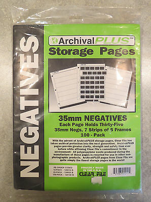 Archival Plus Negative Storage Pages 35mm - 100 Pack -  7-Strips of 5-Frames
