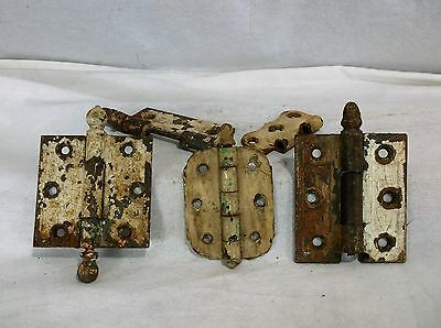 Lot Vintage Reclaimed Shabby Painted Farm Hinges for Re-purpose Hardware Crafts