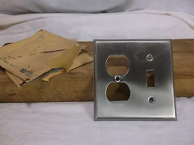 Vintage NOS CHROME COMBO Single Wall Light Switch/Receptacle Plate Cover