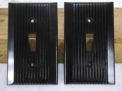Pair of Vintage BAKELITE Ribbed Single Wall Light Switch Plate Brown Cover USA
