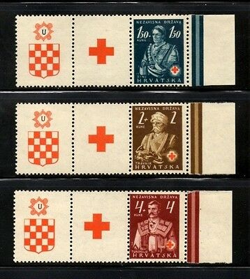 Croatia 1941 Red Cross - National Costumes SG.51/53 Mint (See notes)