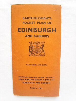 EDINBURGH and SUBURBS Scotland BARTHOLOMEW'S Pocket Plan Folding MAP Street