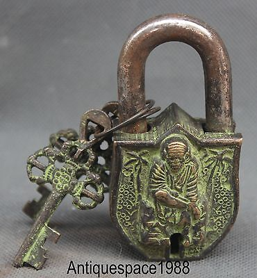 Old Tibet Buddhism Bronze Bodhidharma Daruma Man Big Door lock unlocking key