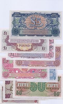 BRITISH ARMED FORCES  9 Vouchers incl  rare 1 shilling & 10 shillings