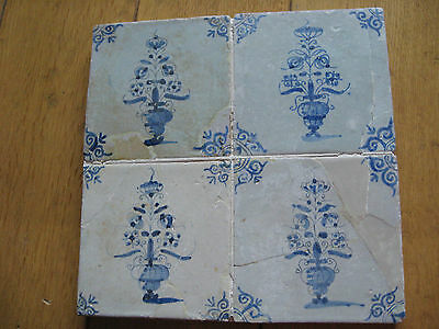 4 17th Century Delft Tiles   flowers in vase
