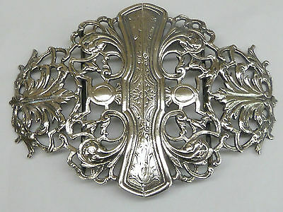 Lovely Ornate Antique French Solid Hallmarked Silver Nurses Belt Buckle