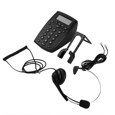 Office Call Center LCD Telephone With Corded Headset HandsFree Dial Pad Phone