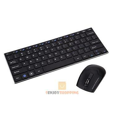 Black Slim Mini 2.4G Optical Wireless Keyboard and Mouse USB Receiver for PC Mac