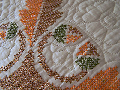 Autumn quilt! Cross stitched w/ oak leaves and acorns; nice; orange, brown green