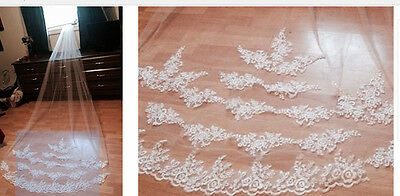 3m Cathedral Length Ivory Wedding Veil with Lace detailing and comb