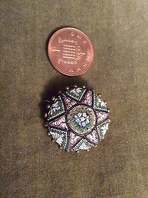 Victorian italian micro mosaic with c clasp pin brooch