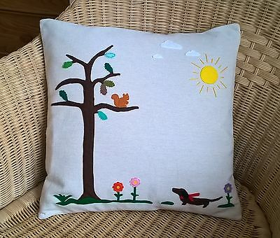 Dachshund Hand Crafted Felt Applique Picture Cushion Cover ...Squirrel Watching