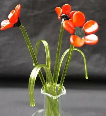 Glass Ornament red poppies Flowers In A Vase