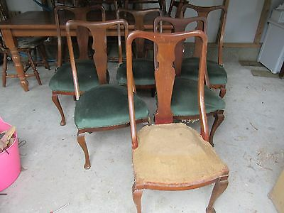 Set of Six 6 Vintage Antique Dining Chairs in need of Updating/Restoration