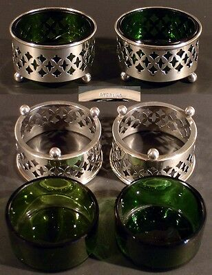 Pair Of Vintage Silver Table Salt Cellars With Green Glass Liners