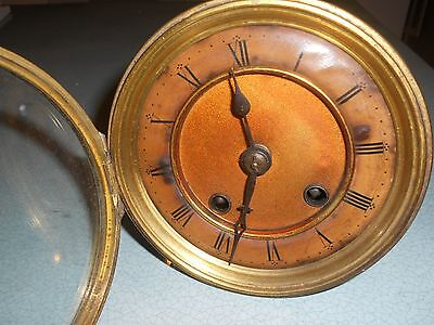 Antique French Striking Clock Movement With Dial & Leather Bezel Spares / Repair