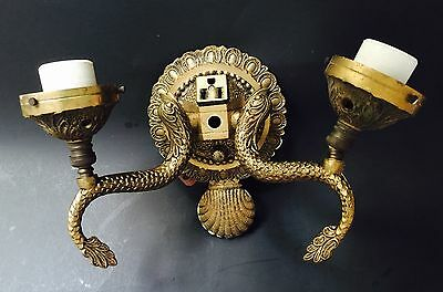 Vintage Solid Brass Light Sconce Made In Spain Ornate Fish  Carp Wall Mount