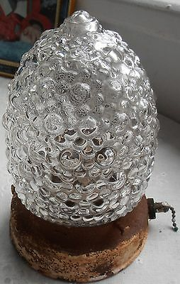 Antique Early 1930's  Geometric Clear Glass-Hobnail Porch Light.