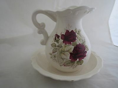 vintage white pitcher and wash bowl set~red rose