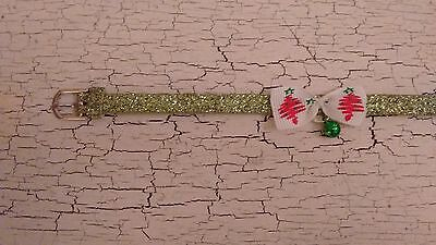 Christmas hand crafted green glitter kitten collar with Christmas tree bow