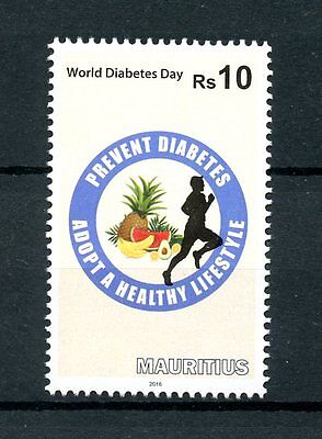 Mauritius 2016 MNH World Diabetes Day 1v Set Health Medical Stamps