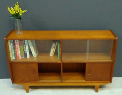 Rare Teak Bookcase, Retro Display Cabinet, Midcentury Sideboard, Danish Style.
