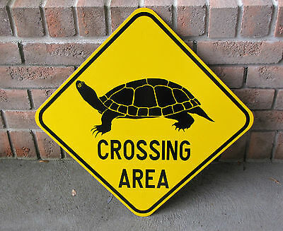 """TURTLE CROSSING SIGN - Heavy Gauge Steel - 18"""" x 18"""" - Real Reflective Road Sign"""