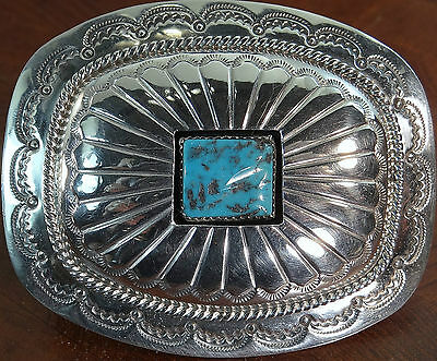 """W. M. Sterling Silver Native American Overlay Square Turquoise Shadowbox Buckle"