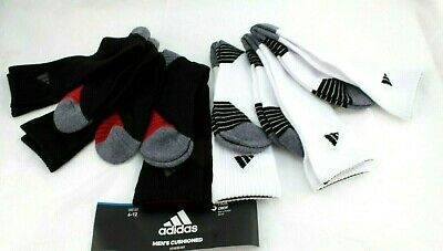 6 Pack Adidas Stretch Black Low Cut No Show Cushioned Socks Large Shoe Sz 6-12