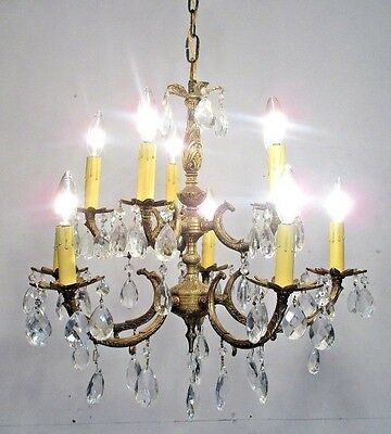Antique Vintage Chandelier Bronze Ten Light Fixture Crystals Rewired Lamp