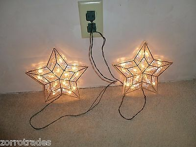 2 Merry Brite ELECTRIC TREE TOP STAR Christmas CLEAR 15 Lights TOPPER Plastic