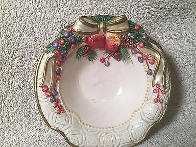 Fitz and Floyd Christmas Ribbon small Serving Bowl 6""