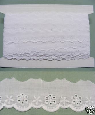 Broderie Anglaise Flat Lace  (3114) - White 10 meters