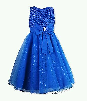 Girls Diamante Bow Flower Girls Bridesmaid Wedding Special Occassion Dress