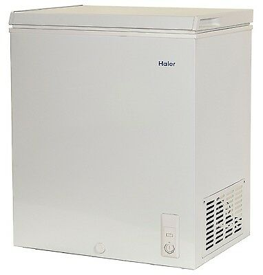 Haier 5.0 Cu Ft Chest Freezer Space Saving Flat-Back Design Perfect For Outdoor