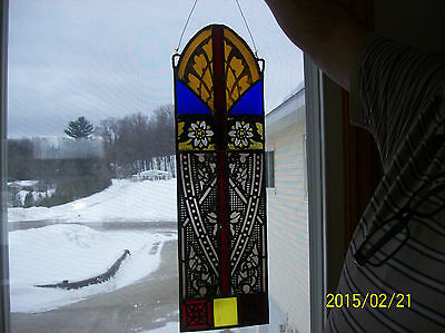 Stained Glass Stunning Colorful Antique Arched Window Panel Unique Gothic Design