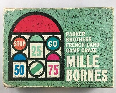 Vintage 1960's Mille Bornes Card Game Parker Brothers French Game Craze