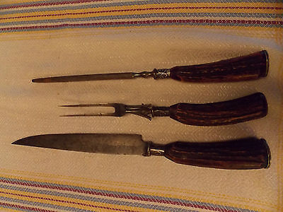 Antique Cattaraugus Cutlery Stag Horn Carving Set Sterling Silver 3 Piece