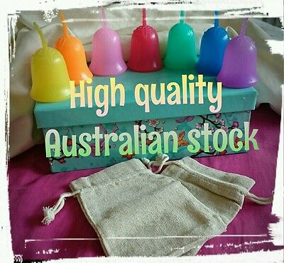 Aussie stock: Superb Quality Menstrual Cup Large & Small Groovy Colours