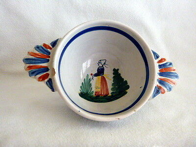 Quimper French Faience Vint. Earthenware 2-Handled Bowl Breton Woman with Flower
