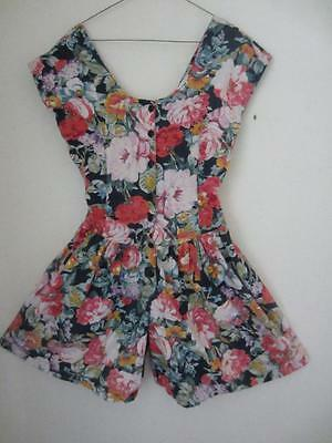 Vintage 80's Shorts Romper Cotton Floral Print Sleeveless Wide Legs Dress Size M