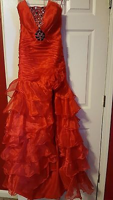 Red Long Chiffon Bridesmaid Formal Gown Ball Party Cocktail Prom Evening Dress